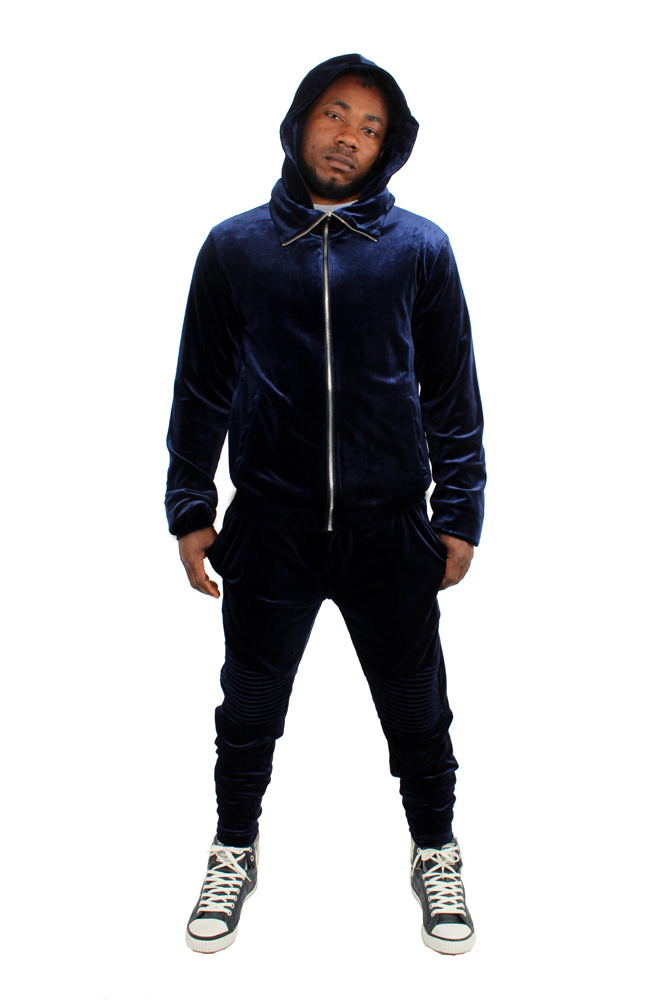 Details about Gangsta Velour Velvet Tracksuit Navy Slim Fit Biker By Dirty Money