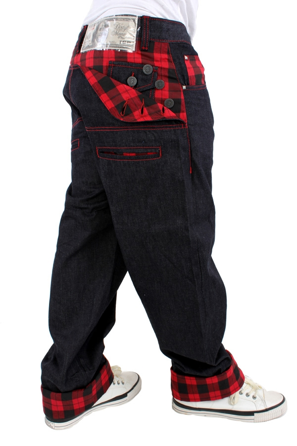 Dirty Money Scottish Red Check Jeans Streetwear United