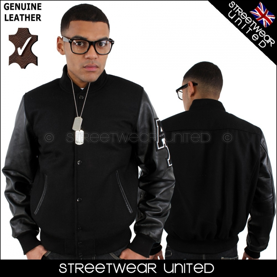 Aviatrix College Baseball Half Leather All Black Jacket ...