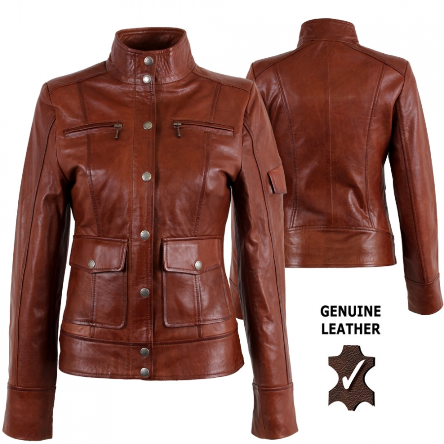 Womens Genuine Leather New Military Jacket Timber Look S7  eBay