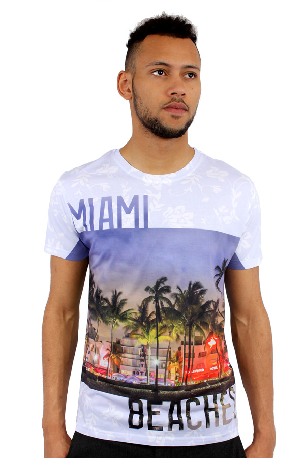 Miami beach 3d print fitted t shirt urban life by monkey for Miami t shirt printing