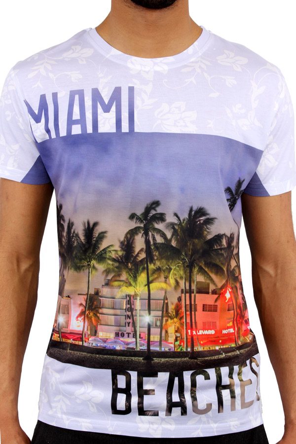 Monkey business miami beach 3d print fitted t shirt ebay for Miami t shirt printing