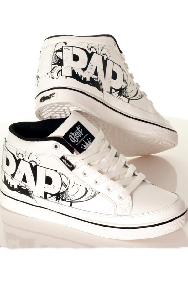 Geniune Leather Hi Top Rap Swag Shoes Trainers By Bsat 106