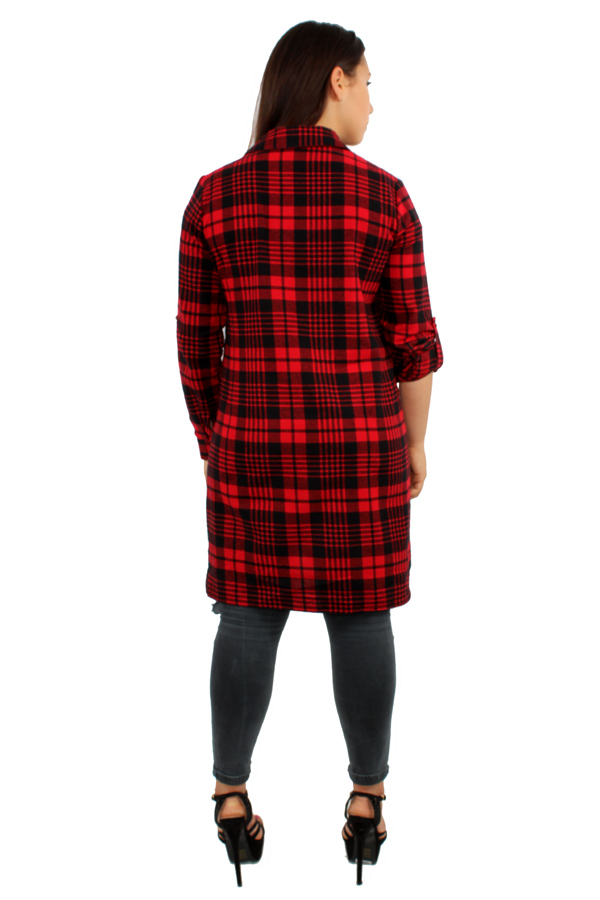Womens boyfriend plaid red check loose long flannel shirt for Best flannel shirt brands