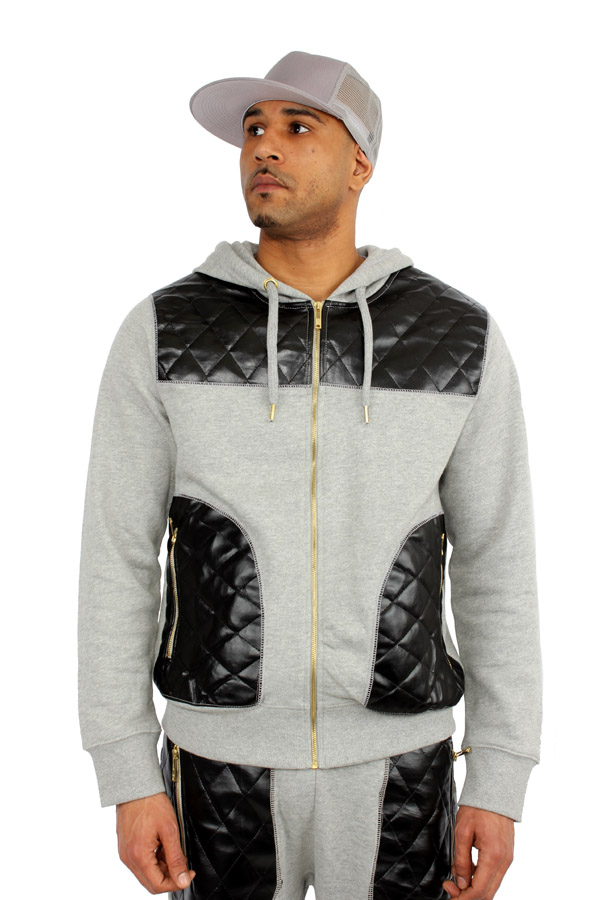 Streetwear Special King Couture Faux Leather Men's Sweat